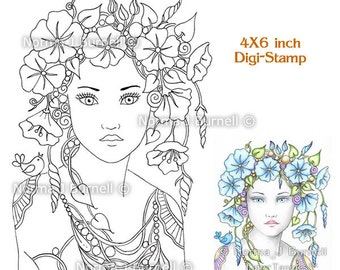 Morning Glory Flower Fairy Tangles Printable Digi Stamp Fairies Norma J Burnell 4x6 Digital Stamps for Card Making and Adult Coloring