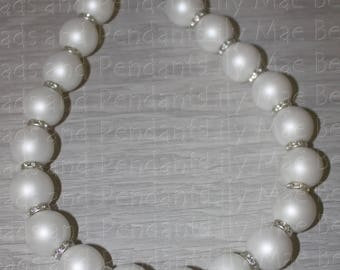 Beautiful and Stunning White Pearl Necklace with Rhinestone Spacers