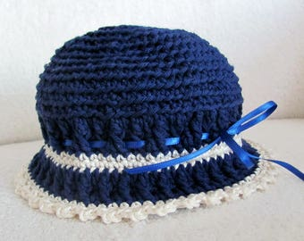 Cute baby hat crocheted in dark blue