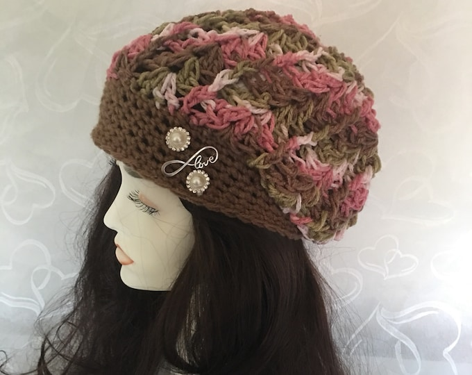 Pink Camo Slouchy Hat-Womens Winter Hats-Beanies-Warm Hats-Accessories -Fall Hats-