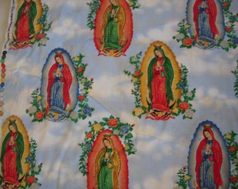 Virgin of Guadalupe Fabric Sold by the 1/2 Yard