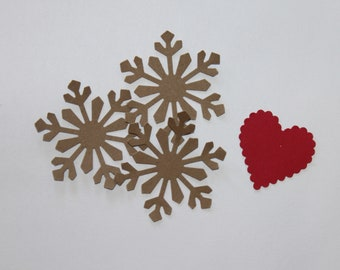 Medium Kraft Paper Snowflake Die-cut Punch set of 1 dozen