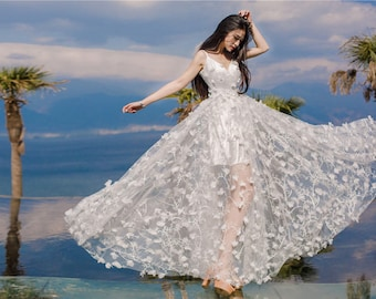 Off White Chiffon lace fabric with 3D flower wedding gown bridal dress 59'' Wide 1 Yard S0441