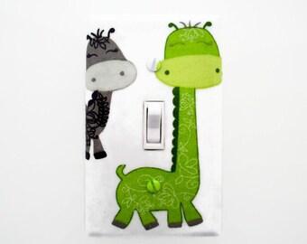 Girls Dinosaur Light Switch Cover - Dinosaur Nursery - Green Grey Switch Plate