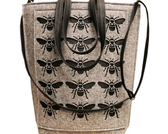 big felt bag with flys