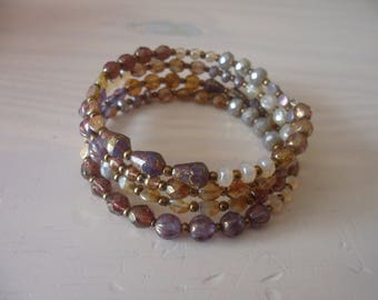 Bracelet multi-row cuff, Bohemian bracelet 4 rows, Czech glass beads