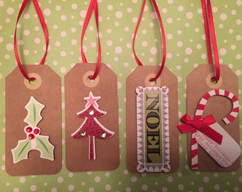 Handmade Christmas Gift Tags/ Holiday Gift Tags (Variety of Colours) Set/Pack of 8