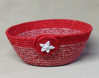 Coiled Fabric Bowl, Round, Red and White Print with Solid Red Band