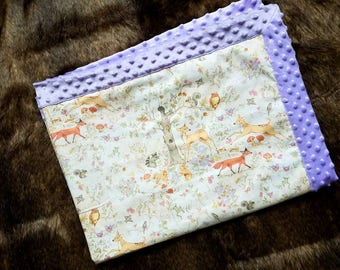 LARGE woodland animal minky baby blanket. Deer. Squirrels. Owl. Fox. Boho. Birds. Lavender. Wood land creatures. Handmade. Little Fawn Lane