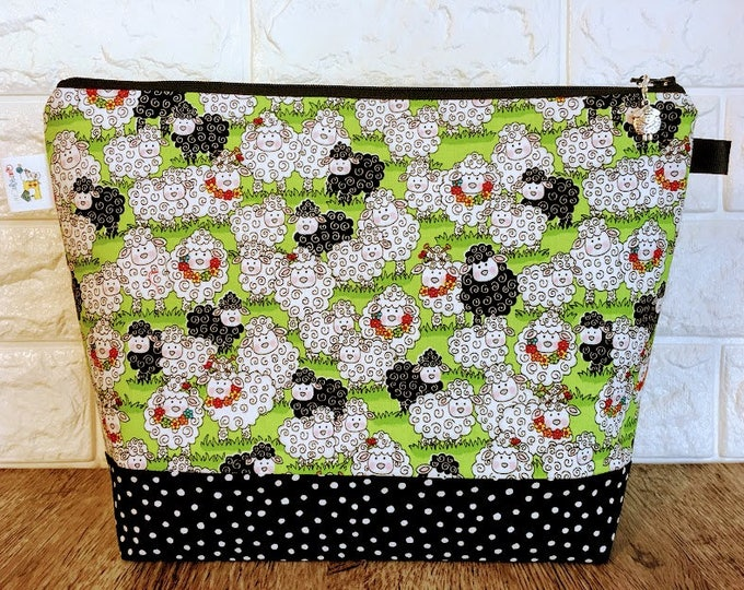 Featured listing image: Sheep Knitting Project Bag - Medium / Shawl Size
