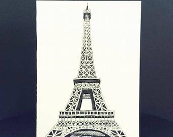 Hand Drawn Card (Handmade), Eiffel Tower Card, Eiffel Tower Stationery, Paris Card, Paris Stationery