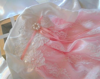 Newborn girl Layette gown  coming home Pink and white Lace