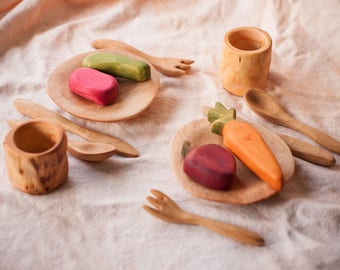 Wood play food. Wooden toy flatware cutlery set - Plate Glass Spoon Knife Fork. Waldorf toys. Montessori materials. Children cooking set.