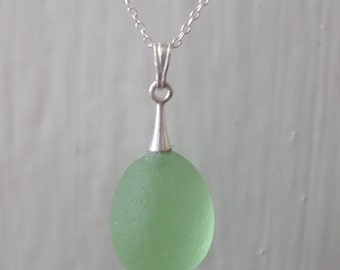 Green Sea Glass Necklace, Seaglass Necklace, Seaglass, Beach Glass, Sterling Silver, Beachglass, Sea Glass Pendant, Seaham, Beach Jewelry