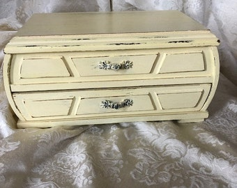 Jewelry Box, Vintage Shabby Chic in Pale Moon Yellow