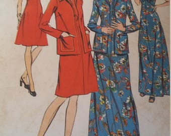 UNCUT and FF Pattern Pieces Vintage Simplicity 6559 Sewing Pattern Sizes 44 and 46 Bust 48 and 50 Dress in Two Lengths and Jacket