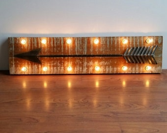 Marquee Light Up Metal Arrow Wood Wall Decor