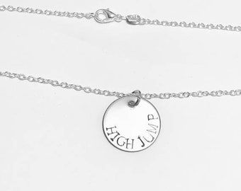 High Jump Track & Field Event Charm Necklace .925 Sterling Silver Necklace