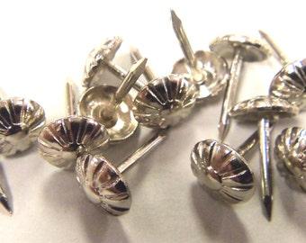 Rosette Floral Head Decorative Upholstery Tack Nail Stud  100 pcs - Shiny Nickel