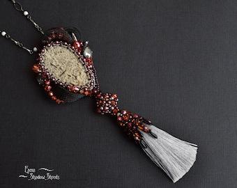 "Beadwork pendant with tassel ""Ash"" Bead embroidery pendant Pendant with Swarovski crystals Beaded pendant Pegmatite Black Gray Orange"