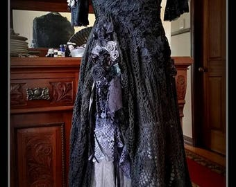 reserved STUNNING Beautiful Gothic Gown.Bridal Wedding Gypsy,Boho,Bohemian Size S-M
