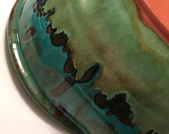Pretty vintage drip glaze pottery bowl