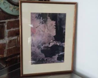 Large Vintage Oriental Print 'Sage at Rest' Kang Hui-an Ink on paper