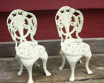 Pair Cast Iron Miniature Doll Chairs, Display  Miniature Chairs, Doll House Chairs, Toys, Children's Doll Chair, Toy Animal Chair