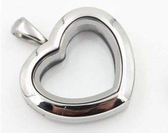 28mm - Heart Stainless Steel Locket Only Glass Memory Locket for Floating Charms