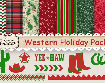 Country Western paper, Christmas Digital Paper, red green Clip Art, Holiday scrapbook paper, holiday clip art, printable paper, background