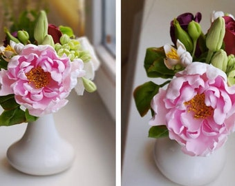 peony centerpiece, room flower decore, cold porcelain, wedding peony, housewarming gift, center piece, gift memory, birthday bouquet