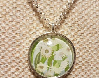 Tasmanian flowering gum floral necklace / upcycled Australian stamp pendant / silver plated with 24 inch chain / flower jewellery