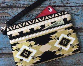 Wristlet; Black & Gold Aztec Wristlet Wallet; Phone Wallet; Zipper Pouch; iPhone 7 Wristlet; Cell Phone Purse; Wallet with Strap; Clutch