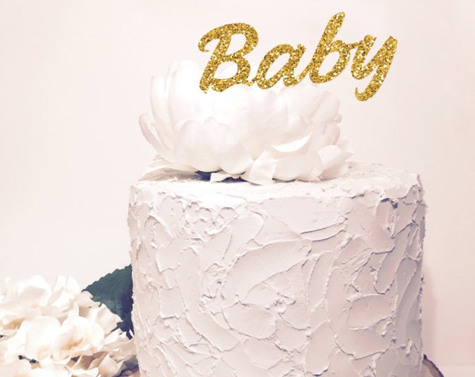 Baby Cake Topper. Chic baby shower decor. Glitter Sparkle. Cursive Script letter.