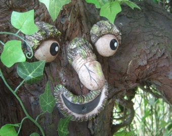 Willy The Rude Tree Face   Take A Peek. Garden Statues, Sculptures.  Handmade Funny Faces Garden Ornaments. Tree Decorations. Yard Art.