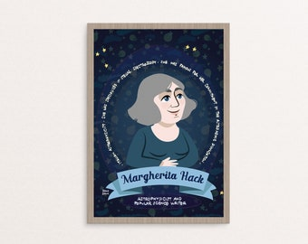 Margherita Hack poster, women in science, science poster for kids, astronomy poster, female scientist print, astronomy print, science gift