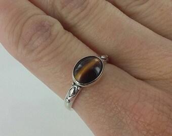 Vintage Genuine Tiger's Eye Sterling Silver Ring, Sz 7