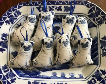 handmade blue Pug ornaments made to order