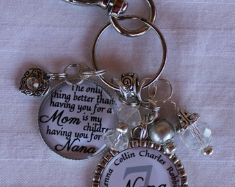 Grandma jewelry, Personalized Grandma Gift, Nana Gift, Mother's Gift, customized keychain, personalized charm gift, Mothers jewelry, charms