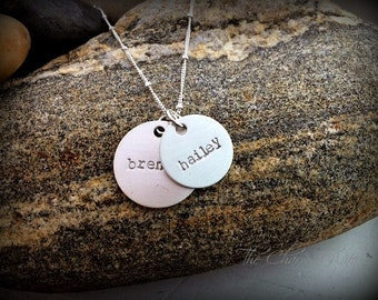 Kids Name Necklace - Modern Hand Stamped Jewelry - Trendy Mom Jewelry - Personalized -  for Mom - Gifts from Kids- Mother's Day Gifts