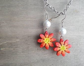 Handmade red flower earrings, silver, nature, floral ear jewelry, valentines day gift for her, girlfriend gift, jewellery, birthday
