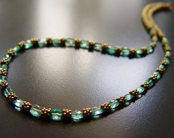 Natural Teal Apatite Gems and Heavy Vermeil Necklace Set