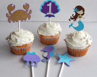 Under the Sea Mermaid Cupcake Toppers, Set of 6 Cup Cake Topper, Purple and Teal Mermaid Party Decoraiton