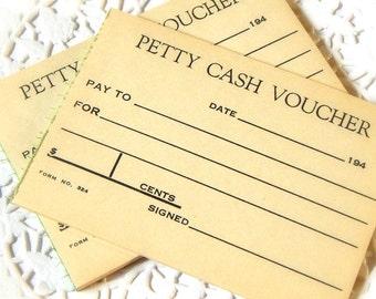 Vintage Petty Cash Vouchers. Vintage Office. Embellishment. Planner Accessories. Scrapbook Ephemera. Junk Journal Paper. Vintage Journal.