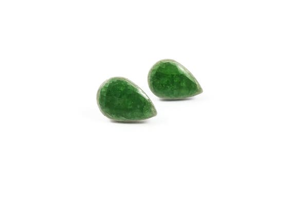 Green icy crackled ceramic porcelain drop stud earrings - Titanium, Ceramic & Glass