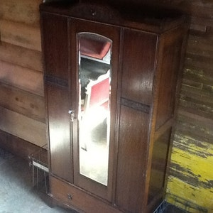 Armoire Oak Antique Beveled Mirror Wardrobe
