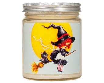 Halloween Soy Candle, Halloween Decor, Scented Candle, Witch Candle, Container Candle, Soy Candle, Vintage, Halloween Decoration