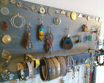 Steampunk Jewelry Board, Jewelry Rack, Jewelry Display Board, Upcycled Jewelry Board, Jewelry Holder