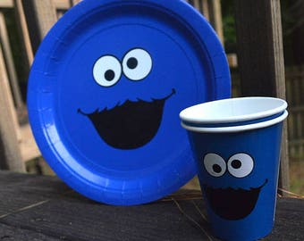 Sesame Street Birthday Party Face 20 Plates and 24 Cups/Elmo/Cookie Monster/Party Decorations/Ideas/Inspired/1st Birthday/Food/Drink/theme