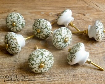 """SET OF 20 - 1.5"""" Olive Green and White Floral Ceramic Knob - Flower Drawer Pull - Decorative Knob - Cabinet Kitchen Decor - Moss Olive Green"""